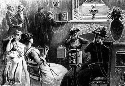 Zuhörer des Theatrophons an Münzapparaten, 1892
